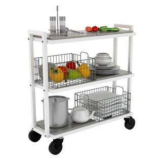 urb SPACE 3-tier Cart System with 4 Interchangeable Shelves, 2 Foldable/ Stackable Grey Baskets, Liners, and Heavy Duty Casters