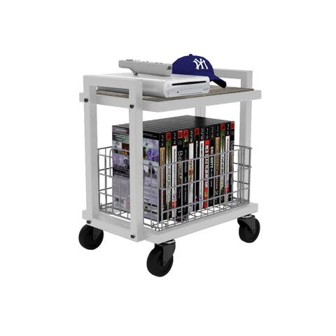 urb SPACE 2-tier Cart System with 1 Interchangeable Shelve, 1 Foldable/ Stackable Gray Basket, Liner, and Heavy Duty Casters