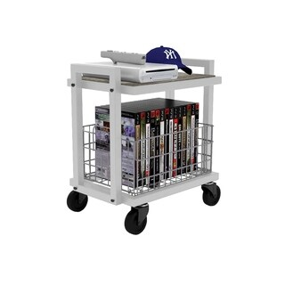 urb SPACE 2-tier Cart System with 1 Interchangeable Shelve, 1 Foldable/ Stackable Grey Basket, Liner, and Heavy Duty Casters