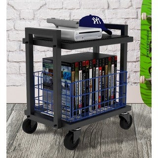 urb SPACE 2-Tier Cart System with Removable Black Shelf, and Removable Blue Basket