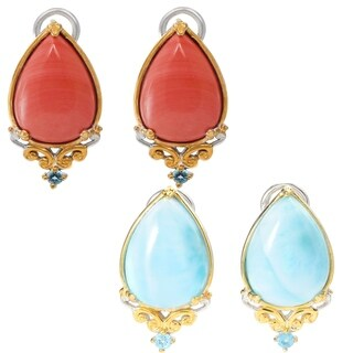 Michael Valitutti Palladium Silver Pear Shaped Salmon Bamboo Coral/Larimar & Swiss Blue Topaz Stud Earrings