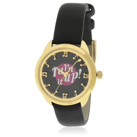Kate Spade New York Crosstown Record Black Leather Ladies Watch KSW1148