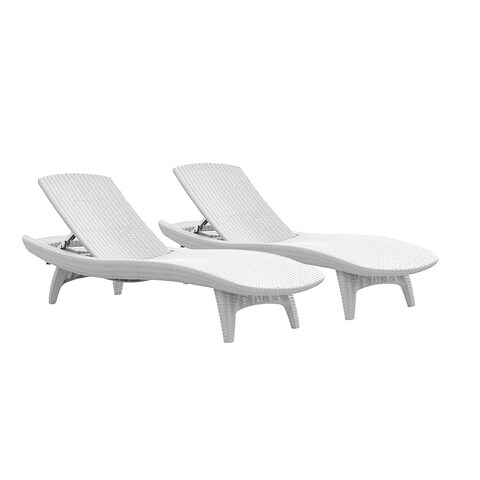 Clay Alder Home Black Hawk Chaise All-Weather White Patio Sun Lounger (Set of 2)