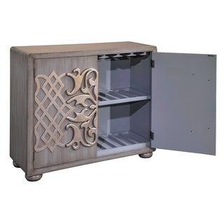 Grey Wood Metallic Overlay Bar Cabinet