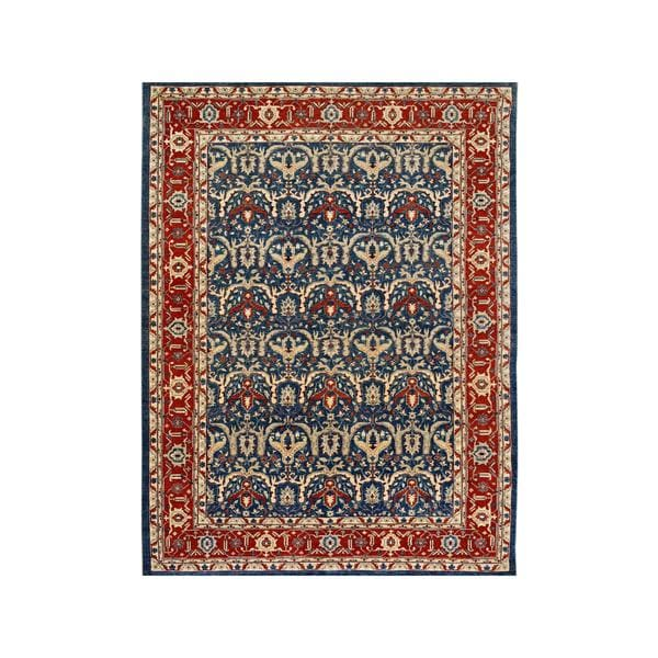 Arshs Fine Rugs Hand-knotted Kafkaz Peshawar Aldo Blue/Red Wool Rug - 9' x 12'