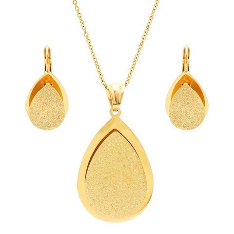 Piatella Ladies Gold Tone Glitter Teardrop Earring and Pendant Set