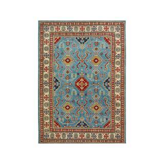 Arshs Fine Rugs Kazak Jayson Blue/Ivory Hand-knotted Wool Rug - 9' x 12'