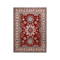 Arshs Fine Rugs Kazak Scottie Red/Light Tan Wool/Natural Fiber Hand-knotted Rug - 9' x 12'