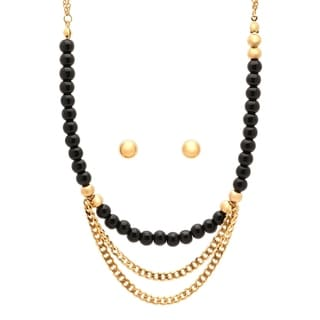 Piatella Ladies Gold Tone Ball Stud Earring and Beaded Necklace Set