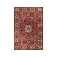 Arshs Fine Rugs Mamluk Arya Erik Handknotted Red/Ivory/Multicolored Wool and Natural Fiber Rectangular Rug - 7'11 x 11'11