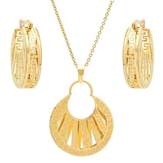 Piatella Ladies Gold Tone Greek Key Cut Out Rounded Earring and Pendant Set