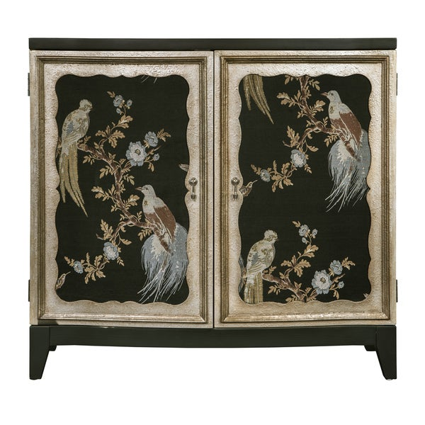 Charlotte Black Wood Bird Motif Bar Cabinet