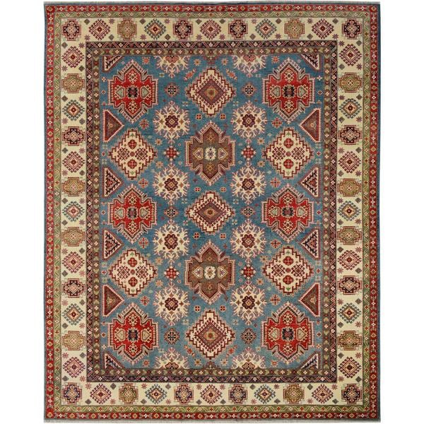Hand-Knottted Kazak Tracey Blue/Ivory Wool Rug (9'1 x 11'8) - 9 ft. 1 in. x 11 ft. 8 in.