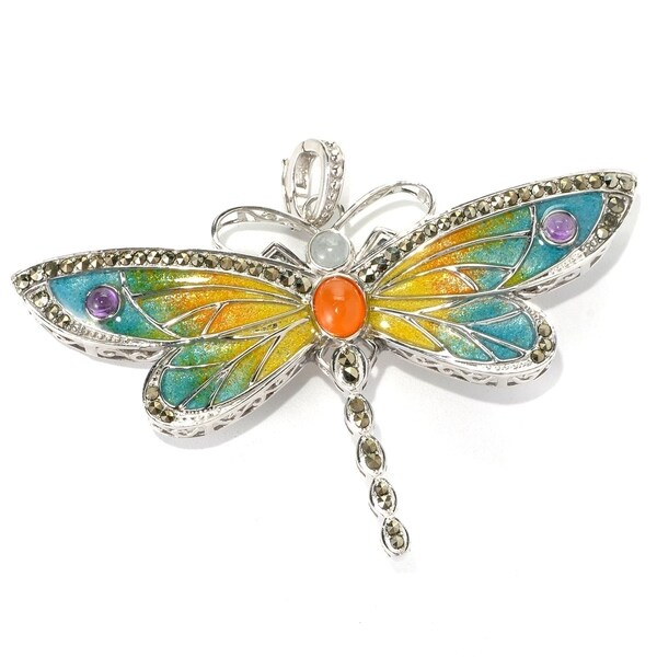 Dallas Prince Designs Sterling Silver Dragonfly Pin/Enhancer Made with Marcasite