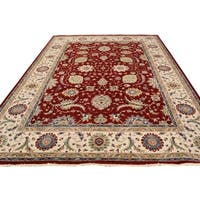 Arshs Fine Rugs Hand-knotted Kafkaz Peshawar Rubin Red/Ivory Wool Rug - 9' x 12'