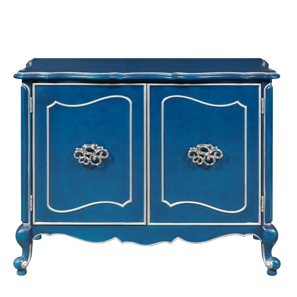 Jordan Painted Blue, Silver Wood Bar Cabinet