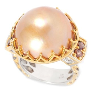 Michael Valitutti Palladium Silver Golden Mabe Cultured Pearl & Mocha Zircon Polished Ring - Gold