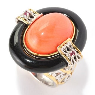 Michael Valitutti Palladium Silver Salmon Bamboo Coral, Black Onyx & Ruby Ring