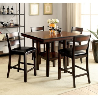 Furniture of America Belerd Contemporary 5-piece Brown Cherry Counter Height Dining Set