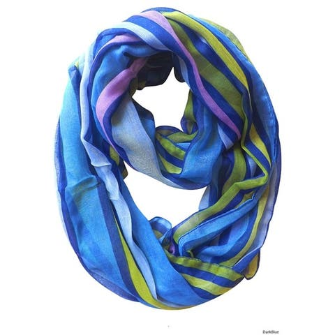 Peach Couture Striped Print Light and Soft Fashion Infinity Loop Scarf - Medium