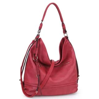 5d26da25669 Dasein Soft Water Wash Faux Leather Hobo Handbag with Twisted Braided wave  strand deco