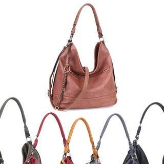 Dasein Soft Water Wash Faux Leather Hobo Handbag with Twisted/Braided wave strand deco