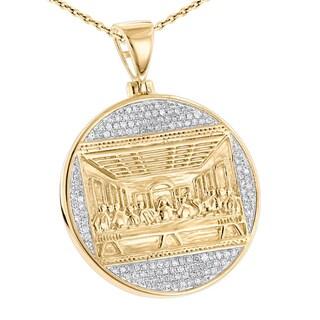 Luxurman 10K Gold Last Supper Diamond Pendant for Men Medallion 0.5ct