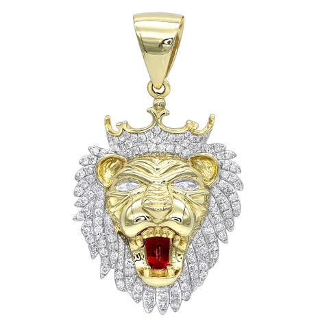 Luxurman Solid 10K Gold Diamond King Lion Head Pendant for Men 1.2ct Charm