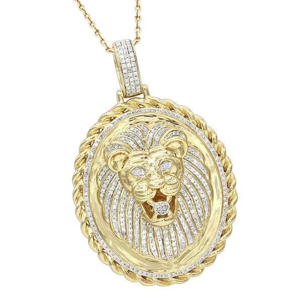 ee64b9a0c5fad Shop Luxurman Medallion 14K Gold Real Diamond Lions Head Pendant 1ct ...