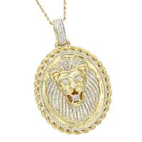 Luxurman Medallion 14K Gold Real Diamond Lions Head Pendant 1ct