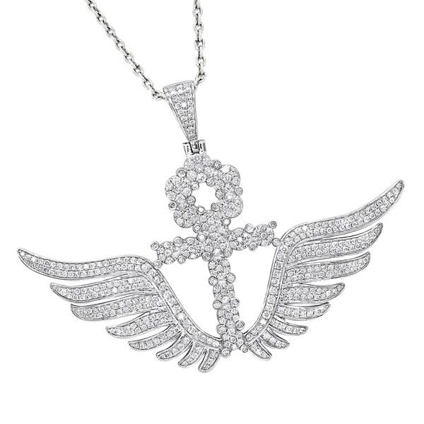 Luxurman 10K Gold Mens Diamond Ankh Pendant Cross With Wings 333ct
