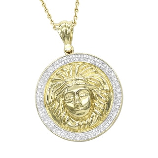 Luxurman 10K Gold Versace Style Diamond Pendant Medusa Head Medallion For Men 0 5ct