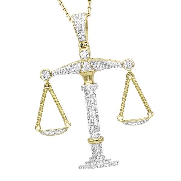 Shop luxurman real gold zodiac jewelry 10k gold diamond libra luxurman real gold zodiac jewelry 10k gold diamond libra pendant 11ct aloadofball Image collections