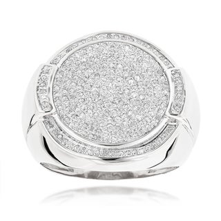 Luxurman 10K Gold Pave Round Diamonds Ring For Men 0 7ct