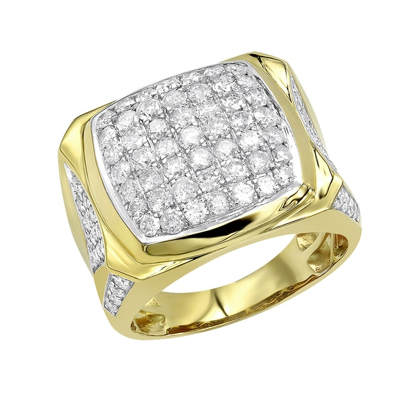 0cfb2a6d62f84c Luxurman Statement Jewelry: 10k Gold Mens Diamond Ring 3 Carat Pinky Ring