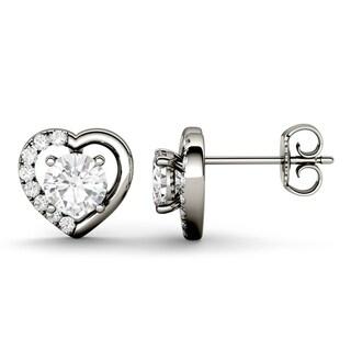 Charles & Colvard 14k White Gold 1 1/6ct DEW Forever Brilliant Moissanite Heart Halo Stud Earrings