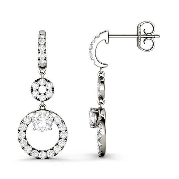 Charles & Colvard 14k White Gold 1ct DEW Forever Classic Moissanite Double Circle Halo Drop Earrings