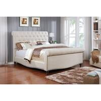 Best Quality Furniture Linen Upholstered Sleigh Bed