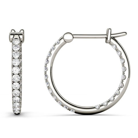 Charles & Colvard 14k White Gold 2/5ct DEW Forever Classic Moissanite Hoop Earrings