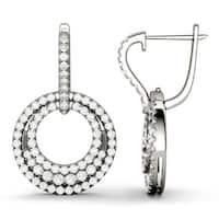 Charles & Colvard 14k White Gold 1 3/5ct DEW Forever Classic Moissanite Triple Circle Halo Earrings