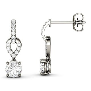 Charles & Colvard 14k White Gold 1 1/4ct DEW Forever Brilliant Moissanite Drop Earrings