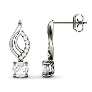 Charles & Colvard 14k White Gold 1 1/7ct DEW Forver Brilliant Moissanite Drop Earrings