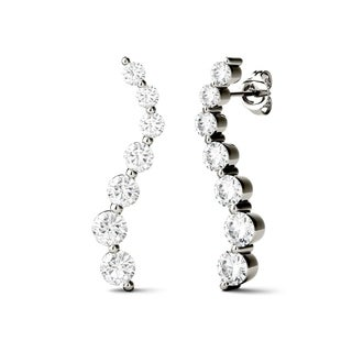 Charles & Colvard 14k White Gold 3/4ct DEW Forever Brilliant Moissanite Curve Drop Earrings