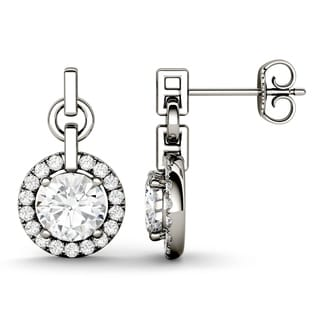 Charles & Colvard 14k White Gold 1 9/10ct DEW Forever Brilliant Moissanite Halo Drop Earrings