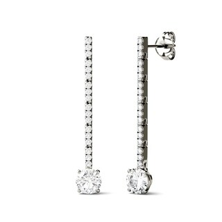 Charles & Colvard 14k White Gold 1 1/3ct DEW Forever Brilliant Moissanite Drop Line Earrings