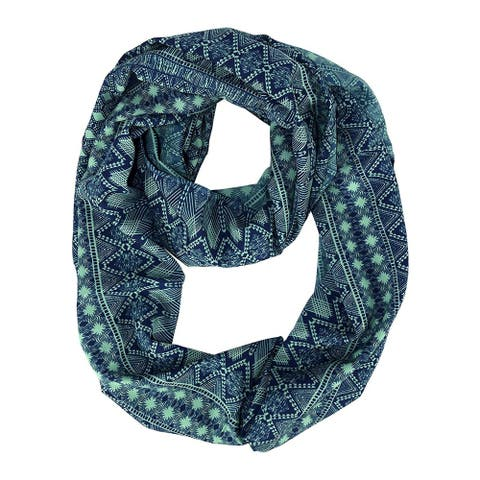 Peach CoutureTribal Bohemian Aztec Print Green Navy Infinity Scarf