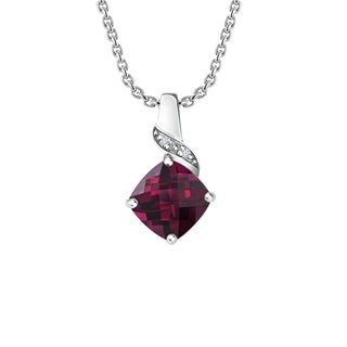 Belinda Jewelz Cushion Cut 8mm Created Ruby and Diamonds Necklace