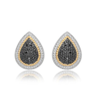 Marabela Sterling Silver and 14k Gold Black Diamond Tear Drop Stud Earrings