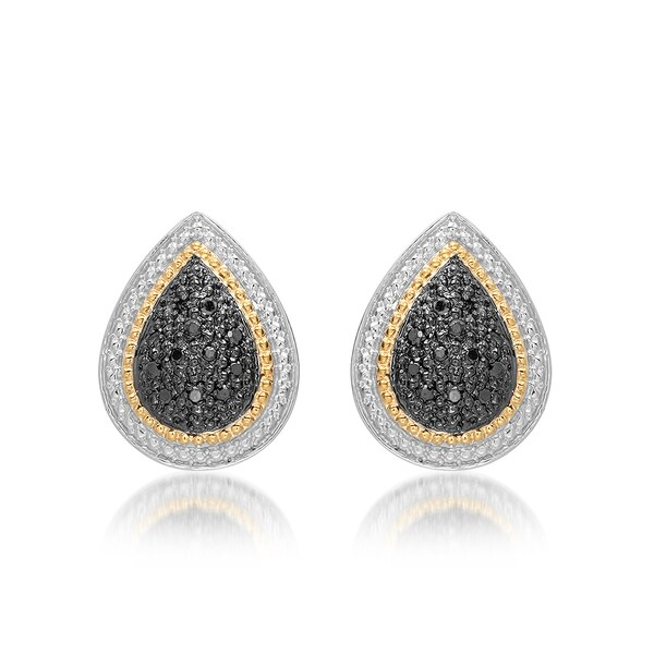 d14a407a9 Marabela Sterling Silver and 14k Gold Black Diamond Tear Drop Stud Earrings