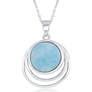 La Preciosa Sterling Silver High Polished  Triple Round Larimar Center 18'' Pendant Necklace